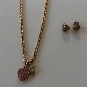 Matching Juicy Couture heart necklace and earrings